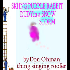 Skiing  Purple Rabbit Rudy in a Snow Storm