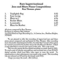 Rare Improvisational Jazz and Blues Piano Compositions